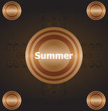 Summer time. summer word on golden luxury background, summer holidays Royalty Free Stock Photos