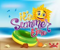 Summer time Sun Character In a Blue Ocean with a Crab Illustration Royalty Free Stock Photo