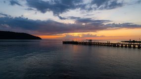 Summer time sunset view on tropical island. Dramatic sky in the evening at Koh Phangan, Thailand Royalty Free Stock Photography