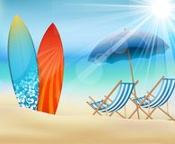 Summer time with surfboard Stock Photography