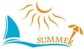 Summer time symbol with yacht and sun Royalty Free Stock Photo