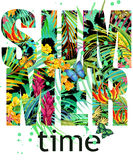 Summer time Tee Shirt design. Tropical plants texture. Summer time text. Royalty Free Stock Photography