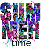 Summer time Tee Shirt design. Tropical plants texture. Summer time text. Stock Images