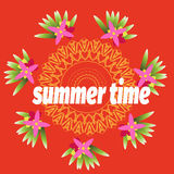 Summer time template for banner, postcard with tropical flower and mandala. Vector Royalty Free Stock Image
