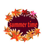 Summer time template for banner, postcard with tropical flower and mandala. Vector Royalty Free Stock Photo