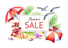 Summer time template. Watercolor label Stock Images