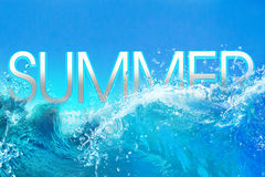 Summer Time text in big ocean waves Royalty Free Stock Photography