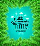Summer Time Text with Palm Tree Leaves Boarders Stock Image