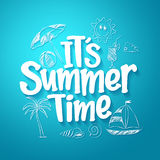 Summer Time Text Title with Hand Drawing Vector Elements Royalty Free Stock Images