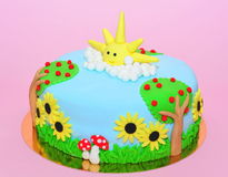 Summer time theme fondant cake Stock Images