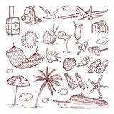 Summer time theme in hand drawn style. Vector doodles icon set vector illustration
