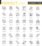 Summer time thin line web icons set. Vacation travel outline stroke icons design. Summer time thin line web icons set. Vacation travel outline stroke icons stock illustration