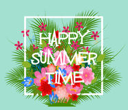 Summer Time Typographical Background With Tropical Plants And Flowers Royalty Free Stock Photography
