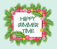 Summer Time Typographical Background With Tropical Plants And Flowers Stock Image