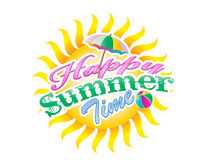 Summer time typography. With colourful label and sun Royalty Free Stock Images