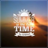 Summer time typography design on blurred sky Royalty Free Stock Image