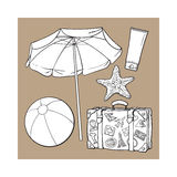 Summer time vacation attributes - umbrella, suitcase, sunscreen and ball Stock Images