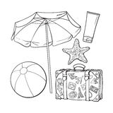 Summer time vacation attributes - umbrella, suitcase, sunscreen and ball Stock Image