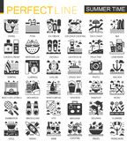 Summer time vacation black mini concept icons and infographic symbols set. Summer time vacation black mini concept icons and infographic symbols Stock Image