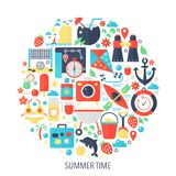 Summer time vacation flat infographics icons in circle - color concept illustration for summer time cover, emblem. Template Royalty Free Stock Images