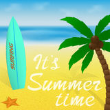 Summer time vacation greeting card or banner with lettering. Palm tree, surfboard and starfish on a beach and sea. Summer time vacation greeting card or banner Royalty Free Stock Photo