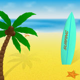 Summer time vacation greeting card or banner. Palm tree, surfboard and starfish on a warm beach and tropical sea. Vector illustration Stock Photo
