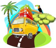 Summer time vacation illustration. Camper van, minibus . Beach ocean tropical theme vacation. stock illustration