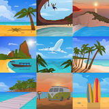 Summer time vacation nature tropical beach landscape of paradise island palm trees holidays vector illustration. Royalty Free Stock Photo