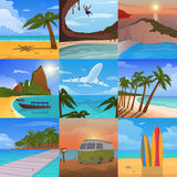 Summer time vacation nature tropical beach landscape of paradise island palm trees holidays vector illustration. Stock Image