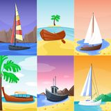 Summer time vacation nature tropical beach with sail boat ships, vessel, yacht landscape paradise island palm holidays Royalty Free Stock Photography