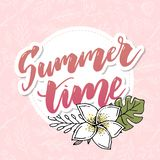 Summer time vector banner design with white circle for text and colorful beach elements in white background. Vector illustration stock illustration