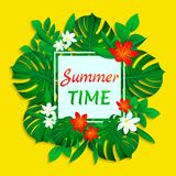 Summer time vector card. Tropical leaves and flowers design with simple text. Trendy tropic style. bright colors. Cute vector illustration