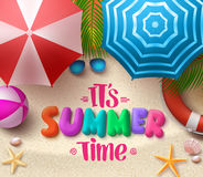 Summer time vector colorful text in the sand with beach umbrellas. Objects and elements under palm leaves. Vector illustration Stock Photo