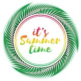 Summer time vector design on white background. Vector colored illustration. vector illustration