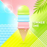 Summer time - illustration. Ice cream on a abstract background. 80`s retro style illustration.Tropical vacation flat design. Summer time - vector illustration stock illustration