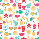 Summer time vector seamless pattern with colorful beach elements vector illustration