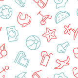 Summer time vector seamless pattern with icons Stock Photos