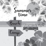 Summer time. Vector summer surf camp retro banner. Surfing concept for shirt or logo, print, stamp. Stock Image