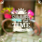 Summer time vector typography design on blurred Stock Photos