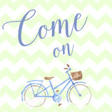 Summer time watercolor hand drawn bicycle. Pastel Stock Photos