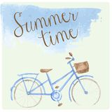 Summer time watercolor hand drawn bicycle. Patel Royalty Free Stock Images