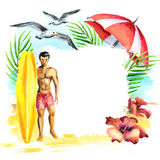 Summer time. Watercolor hand-drawn Royalty Free Stock Photography