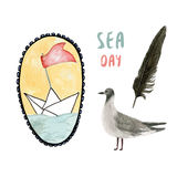 Summer time. Watercolor ship illustration with seagull and feather. Sea holiday set. Vector. Royalty Free Stock Images