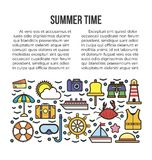 Summer time web page with holiday elements. Beach information banner Stock Images