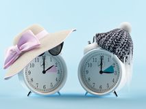 Summer time and winter time clock. changing time concept. 3d rendering Royalty Free Stock Photo