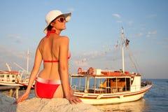 Summer time with Woman in bikini Stock Image