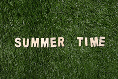 Summer Time Wooden Sign On Grass Stock Photos