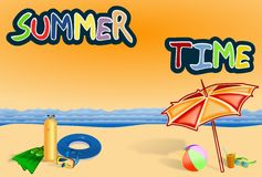 Summer time writing with beach gears and sea Royalty Free Stock Images