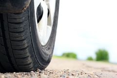 Summer Tire On Asphalt Road Royalty Free Stock Photography