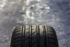 Summer tire tread photographed in close-up. The focus point is the numbers. Royalty Free Stock Photos